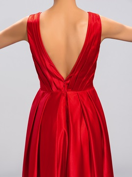 Simple Style V-Neck Pleats Straps Zipper-up Long Evening Dress Designed