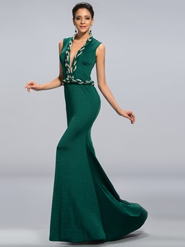 Eye-catching Deep V-Neck Mermaid Beaded Sash Long Evening Dress