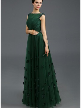 Stunning Bateau Neckline Beading Flowers A-Line Long Evening Dress