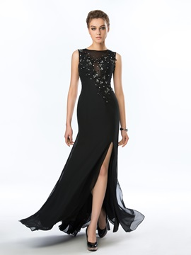 Classy Bateau Neckline Beading Appliques Split-Front Floor Length Evening Dress & cheap Hot Sale Evening Dresses