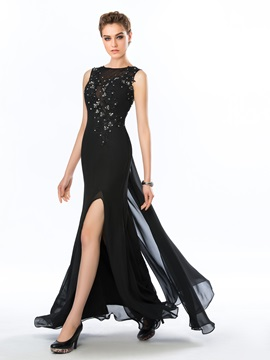 Classy Bateau Neckline Beading Appliques Split-Front Floor Length Evening Dress