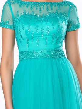 A-Line Bateau Beading Sequins Short Sleeves Long Evening Dress