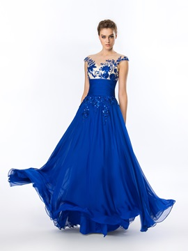 Delicate A-Line Embroidery Beading Long Evening Dress & discount Hot Sale Evening Dresses