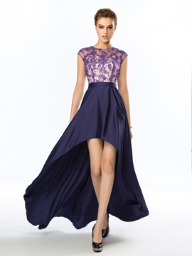 Dazzling Bateau Neck Appliques A-Line Asymmetrical Evening Dress