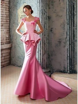 Mermaid Lace Appliques Court Train Long Evening Dress & Hot Sale Evening Dresses under 100