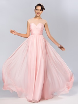 A-Line Jewel Sequins Ruffles Long Pink Prom Dress Designed