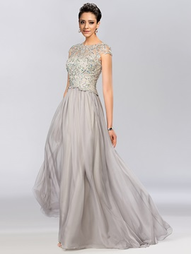 Timeless A-Line Bateau Neckline Lace Beading Cap Sleeves Long Evening Dress