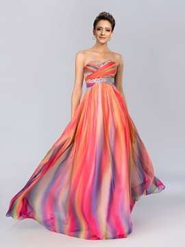 Eye-catching Sweetheart Sequins Beading Pleats Long Prom Dress Designed