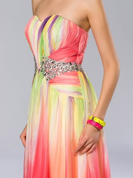 Modern Sweetheart Sequins Beading A-Line Floor-Length Prom Dress