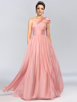 One Shoulder Ruched Bowknot A-Line Long Evening Dress & attractive Hot Sale Evening Dresses