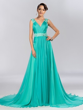 Elegant V-Neck Appliques Beading A-Line Sweep Train Long Evening Dress
