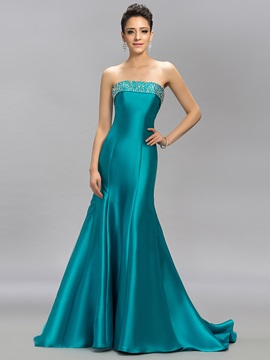 Graceul Strapless Trumpet Beading Lace-up Sweep Train Long Evening Dress