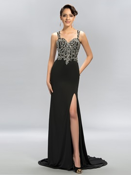 Straps Split-Front Beading Sweep Train Long Evening Dress & Hot Sale Evening Dresses from china