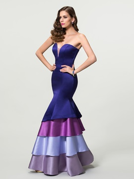 Elegant Mermaid Sweetheart Tiered Long Zipper-up Evening Dress