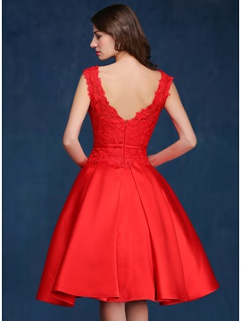 Delicate Straps A-Line Lace Knee-Length Red Prom Dress