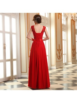 Eye-catching Scoop Appliques Lace-up Floor-Length Prom Dress