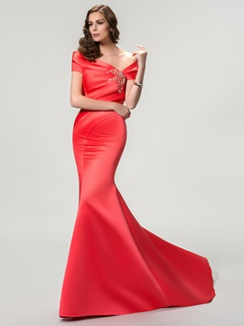 Elegant Off-the-Shoulder Mermaid Beading Court Train Long Evening Dress
