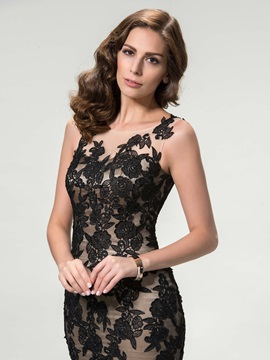 Scoop Lace Appliques Trumpet Long Evening Dress