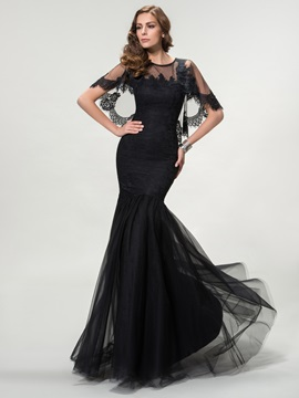 Ladylike Trumpet Jewel Neck Lace Long Evening Dress Designed & Hot Sale Evening Dresses online