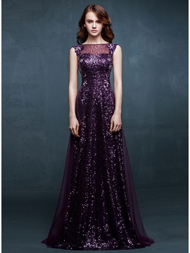 Stunning A-Line Bateau Neck Sequins Embroidery Long Prom Dress & inexpensive Hot Sale Evening Dresses