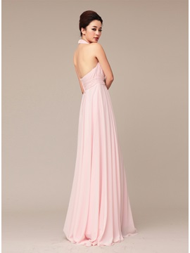Tidebuy Delicate Halter Beading A-Line Long Prom Dress