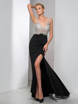 Sexy V-Back Beaded Crystal Split-Front Long Black Evening Dress