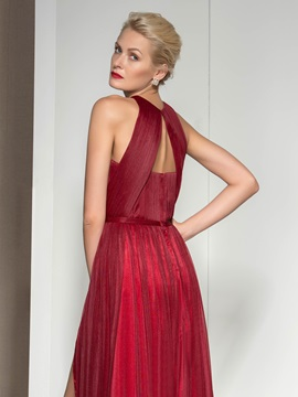 Jewel Pleats Split-Front A-Line Evening Dress