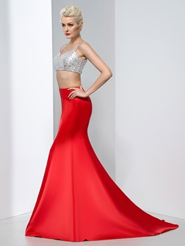 Sexy Spaghetti Straps Sequins Two Pieces Mermaid Red Evening Dress