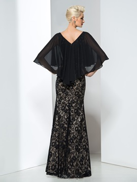 Elegant Sheath Sleeves Beaded Long Lace Evening Dress