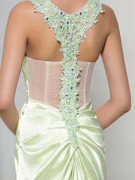 Sexy V-Neck Appliques Beading Split-Front Evening Dress
