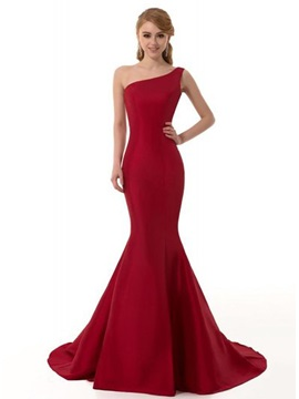 Tidebuy Consice One-Shoulder Mermaid Sweep Train Long Evening Dress