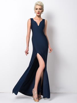 Classy Straps Split-Front Sheath Pearls Long Evening Dress
