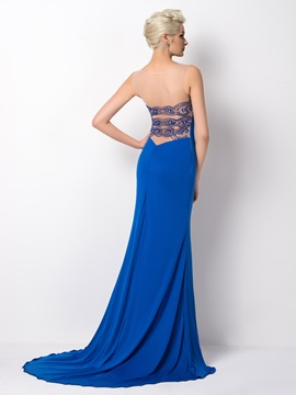 Dazzling Tulle Neck Sheath Beading Court Train Long Evening Dress