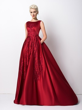 Scoop Neck Embroidery Sequins Sweep Train Long Evening Dress