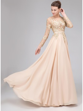 Long Sleeves Sequined Appliques Backless Evening Dress & romantic Hot Sale Evening Dresses