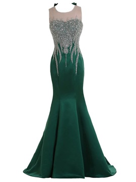 Mermaid Tulle Neck Crystal Bowknot Sweep Train Long Evening Dress & Hot Sale Evening Dresses for less