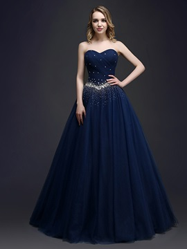 Dramatic Beaded Sweetheart Sequins Lace-up Long Quinceanera Dress & romantic Hot Sale Evening Dresses