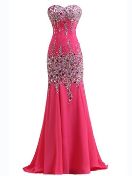 Sweetheart Beading Sequined Sweep Train Mermaid Evening Dress & unusual Hot Sale Evening Dresses