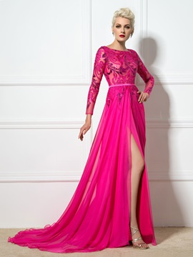 Bateau Sequined Appliques Split-Front Evening Dress
