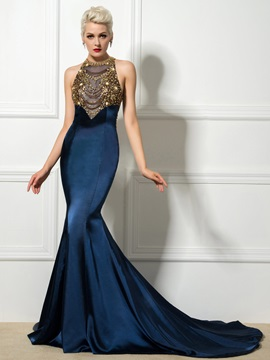 Luxurious Jewel Neck Beaded Crystal Hollow Chapel Train Mermaid Evening Dress & Hot Sale Evening Dresses under 100