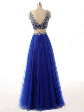 Fashion Scoop Neck Beaded A-Line Two Pieces Long Prom Dress