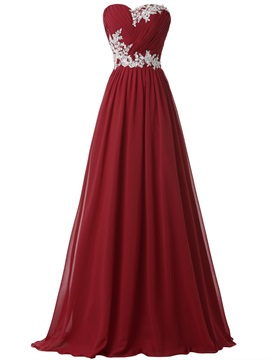 Hot Sale Sweetheart Pleats Appliques Lace-up Long Evening Dress & colored Hot Sale Evening Dresses