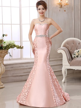 Graceful Sweetheart Crystal Hollow Lace-up Mermaid Evening Dress & modest Hot Sale Evening Dresses