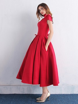 Simple Scoop Neck Bowknot Pockets Tea-Length Prom Dress & fashion Hot Sale Evening Dresses