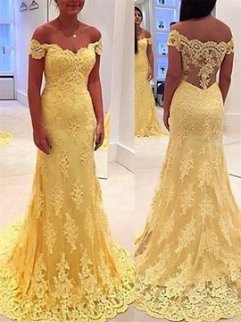 Elegant Off the Shoulder Long Lace Evening Dress