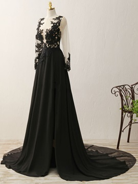 Sexy Long Sleeves Appliques Black Evening Dress