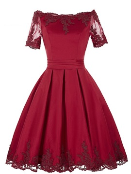 Off the Shoulder Appliques Short Sleeves Homecoming Dress