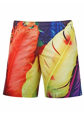 Tidebuy Feather Printed Men's Swim Trunks Beach Board Shorts With Mesh Lining