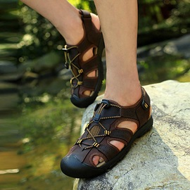 Breathable Suede Round Toe Beach Sandals