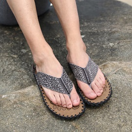Embossed PU Thong Flat Beach Sandals